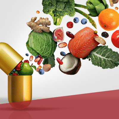 viele Gemüsesorten in einer Pille